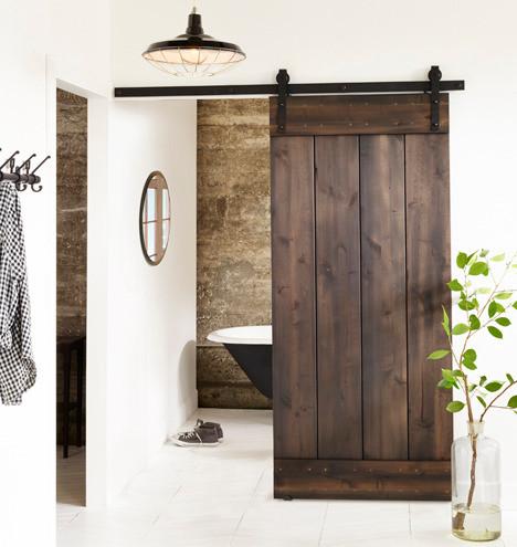 Barn door bathroom